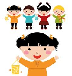 Cute autumn kids in row holding hands vector image vector image