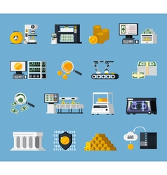 Money Manufacturing Icons Set vector image vector image
