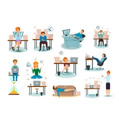 procrastination characters cartoon icons set vector image vector image
