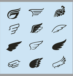 wings icons set 2 vector image vector image