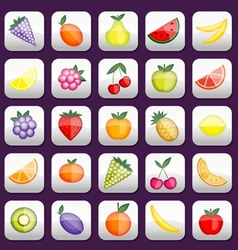 Buttons set with fruits for your design vector image