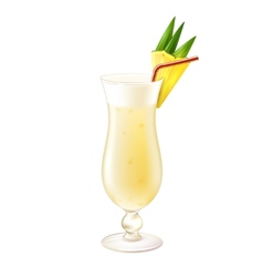 Pina colada cocktail realistic vector image vector image