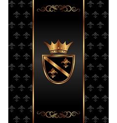 vintage dark golden card with heraldic elements - vector image vector image