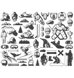Vintage winter sport games icons collection vector
