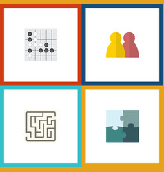flat icon games set of gomoku labyrinth jigsaw vector image vector image
