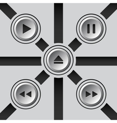 Gray 3D media buttons vector image vector image
