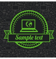 retro label with laptop icon vector image vector image
