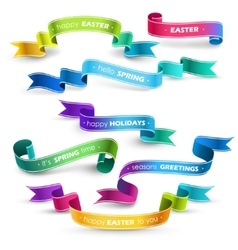 Set of colored ribbons vector image vector image