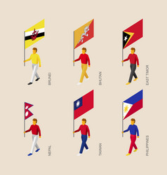 set of isometric 3d people with flags of asia vector image