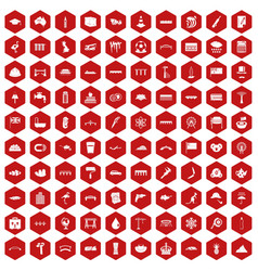 100 bridge icons hexagon red vector