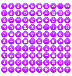 100 winter shopping icons set purple vector