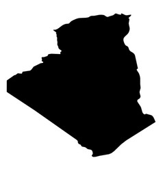algeria - solid black silhouette map of country vector image