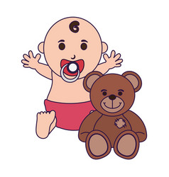Baby with pacifier and teddy vector