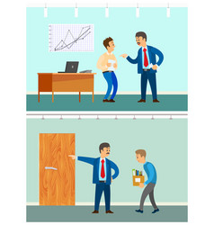 Bad job and dismissal angry boss and employee vector