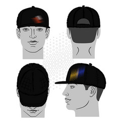 baseball tennis rap cap and man head vector image