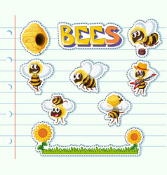 Bees and flower garden on line paper vector