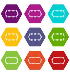 Bicycle chain icon set color hexahedron vector