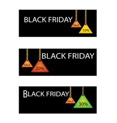 Black Friday Label with Percentages Discount Promo vector image