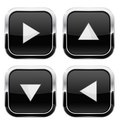 black glass buttons with arrows square 3d icons vector image
