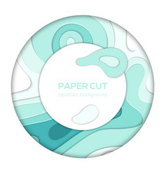 blue abstract layout - paper cut banner vector image