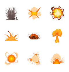 Bomb explosion icons set cartoon style vector