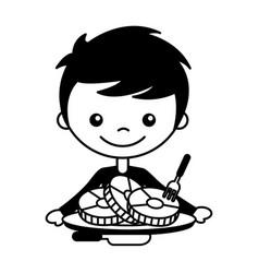 boy with slices pork and fork knife vector image