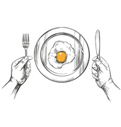 breakfast eggs on a plate hands holding a knife vector image