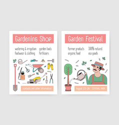 bundle flyer or poster templates with gardener vector image