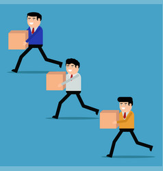 Businessmen run with boxes vector