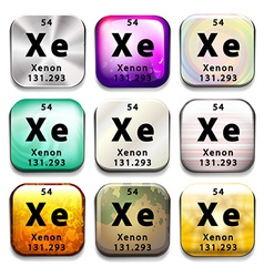 Buttons showing Xenon and its abbreviation vector