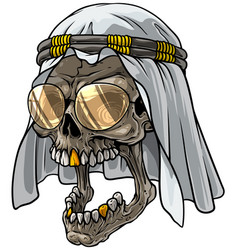 cartoon skull in arab scarf keffiyeh and glasses vector image