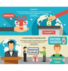 Charity And Donations Banners Set vector