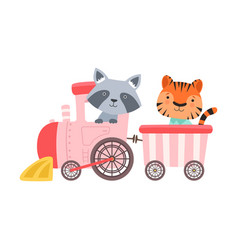Cheerful red cheeked tiger and raccoon driving toy vector