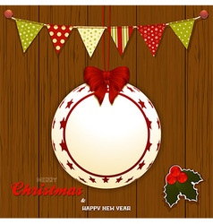 Christmas wood background with bunting and bauble vector image