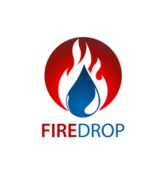 circle fire water drop logo concept design symbol vector image