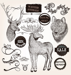 collection of hand drawn animals labels vector image