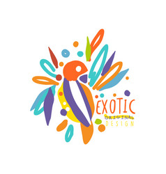 colored hand drawn logo template with exotic bird vector image