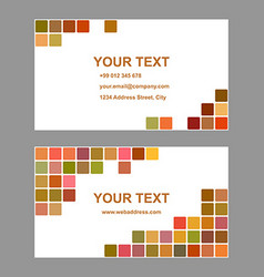 Colored square design business card template vector