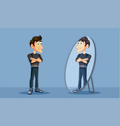 Confident man looking proudly in the mirror vector