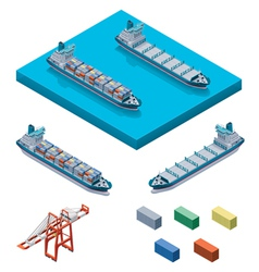 Container ship with crane vector