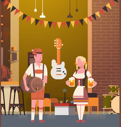 couple in pub wearing traditional clothes drink vector image