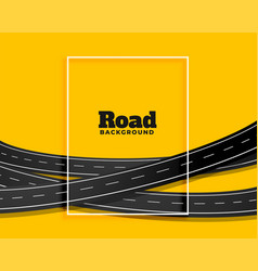 Curve bending roads on yellow background design vector