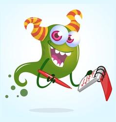 Cute cartoon green horned ghost with pen an vector