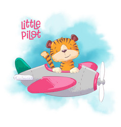 Cute cartoon tiger on a plane vector
