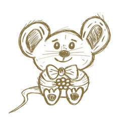 Cute hand drawn mouse with bow and berry isolated vector