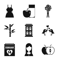 Dame happiness icons set simple style vector