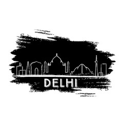 Delhi skyline silhouette hand drawn sketch vector