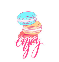 Delicate card with colored drawing of macaroon vector