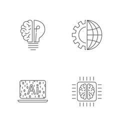 Digital technology icons set ai iot hi-tech vector
