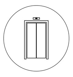 Elevator doors icon black color in circle isolated vector